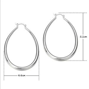 Jewelry - 925 STERLING SILVER CLASSIC LARGE HOOP OVAL DANGLE